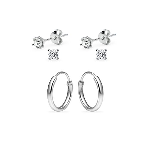Three Pairs Sterling Silver 10mm Endless Hoops and 3mm Round CZ Stud Unisex Cartilage Earrings Set by Silverline Jewelry