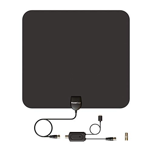 PowerBear TV Antenna (80 Mile Range) 4K TV Antenna (Full HDTV Support - 4k, 1080P, 1080i, 720P) TV Antenna Indoors Signal Booster - Free TV Channels, 16FT Coaxial Cable