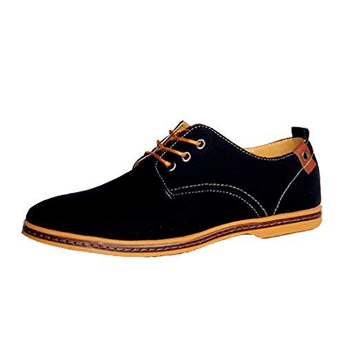 De Zapatos Lona Casual Calzado Clásico Con Hombre Cordones Negro Inlefen OqExB0