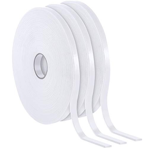 3 Rolls Foam Mounting Tape White PE Double Sided Foam Tape Foam Adhesive Tape (1/2 Inch Wide by 32.8 Feet Long Each Roll)