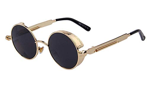 ARZONAI Round Metal Fashion Retro Vintage Shield Shades Steampunk Unisex Sunglasses (Black, Medium)
