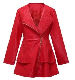 Red Leather Coat - The Twins Dream Girls Faux Leather Coat Toddler Jacket for Kids Dress Coat with Emboss Rose 3-12y