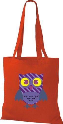 Stoffbeutel Bunte Eule niedliche Tragetasche mit Punkte Karos streifen Owl Retro diverse Farbe Rot NnXYGOrO