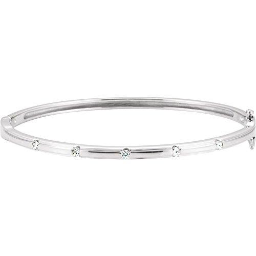 (14k White Gold Diamond Bangle Bracelet 1/4ct)