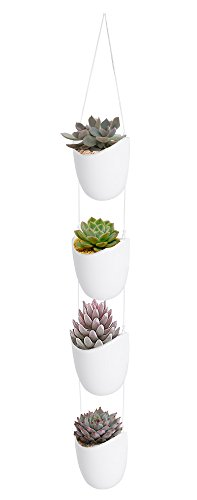 Vencer Christmas Decorations Modern Ceramic (4 Pack) Rope Hanging Planter,Succulent Plants Pots Metope Decorative Display Pots,White,VF-041
