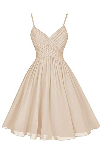 - Champagne Formal Wedding Bridesmaid Dresses Short Knee Length A-Line V-Neck Chiffon Party Dress with Pockets
