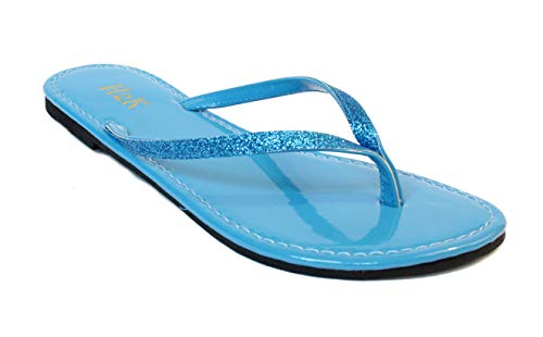 Women's Glitter Casual Flat Thong Flip Flops Sandals Sassy (11, Turquoise)
