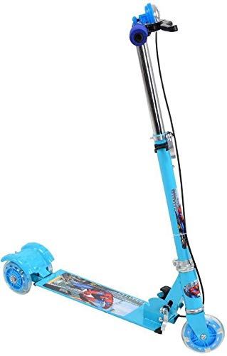Raawan Kid's 3 Wheeler Scooter with LED Lights, Brake, Bells and Adjustable Heights (Blue Colour)