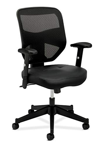 - HON Prominent Leather Task Chair - High Back Mesh Work Chair with Adjustable Arms, Black (HVL531)