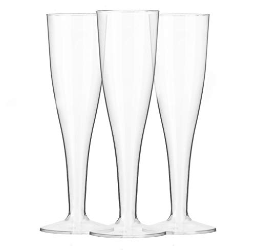 120 Premium Plastic Champagne Flutes - Bulk One Piece Champagne Glasses for Wedding or - Plastic Glasses Flute