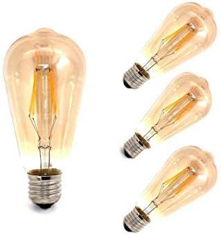 LED Bombillas Filamento Pera 4W E27 Caliente 3000K 4 (Pack): Amazon.es: Iluminación
