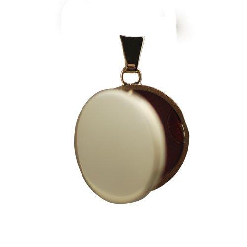 Médaillon à loquet 20mm rond, plat et simple en or 18 carats