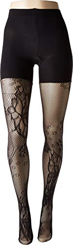 Spanx Tights Nylon - Spanx Women's Fishnet Floral Mid-Thigh Shaping Tights Very Black A