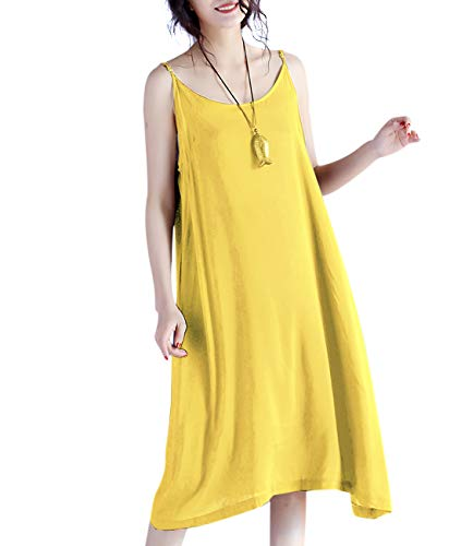 YESNO JEL Women Casual Loose Slip T-Shirt Dresses Beach Cover up Plain Dress A Skirt Hemline (L, JEL Yellow)