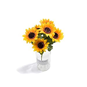 crystal004 7 Heads Artificial Flowers Sunflower Romantic Provence Decoration Flower Silk Simulation Flower Party Wedding Home Decor 26