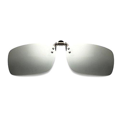 soleil Lentille Polarisation de UV400 up lunettes éblouissement Anti Flip Mixte Rectangle Protection on Élégant Clip Deylaying Des Argenté lunettes qXwpIxZ