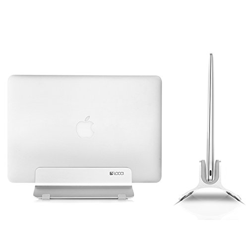 Vertical Laptop Stand, LOCA Aluminium Desktop Stand for Apple MacBook, notebooks (Silver) …