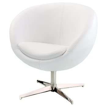 Charmant Best Selling Modern Leather Round Back Chair, White