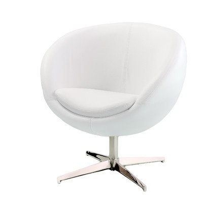 White Leather Rounded Accent Chair