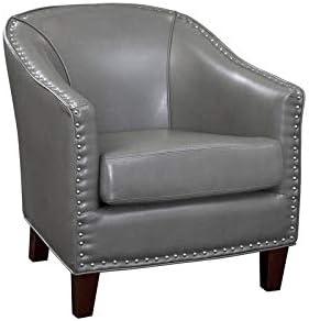 Grafton Giles Nailheads Accent Chair, Charcoal
