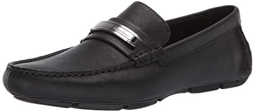 Calvin Klein Men's Kolton Loafer, Black Hatch Embossed Leather, 13 M M -