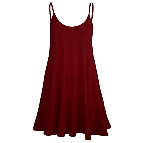 Oops Outlet Women's Sleeveless Plain Strappy Floaty Flared Swing Dress Long Top Plus Size (US 20/22) Wine]()