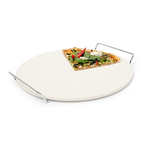 Relaxdays Round Stone for Baking/Cooking Pizza with Handles, Stone, Beige,...