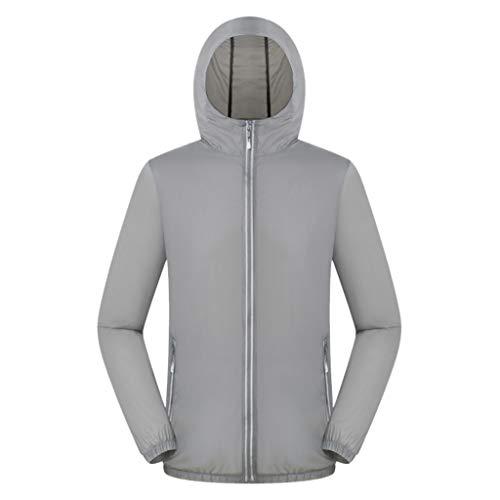 Pongfunsy Women Men Windproof Jacket Outdoor Bicycle Sports Quick Dry Windbreaker Coat Top Gray -