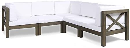 Great Deal Furniture Keith Outdoor Acacia Wood 5 Seater Sectional Sofa Set