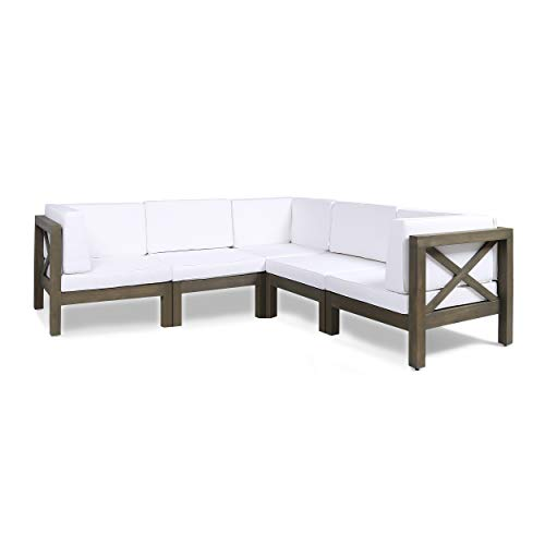 Great Deal Furniture Keith Outdoor Sectional Sofa Set | 5-Piece 5-Seater | Acacia Wood | Water-Resistant Cushions | Gray and White