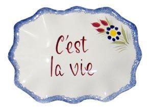 Hb Quimper Henriot (Quimper Dish with French Saying: C'est La Vie)