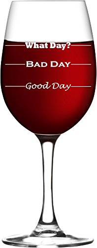 Good Day, Bad Day - Funny 11 oz Wine Glass, Permanently Etched, Gift for Mom, Co-Worker, Friend, Boss, Christmas - WG10