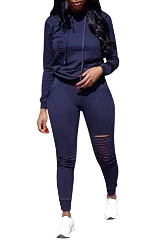 Jogger Set - Women 2 Pieces Outfit Hoodie + Skinny Ripped Legging Sport Jogger Jog Set Navy Blue