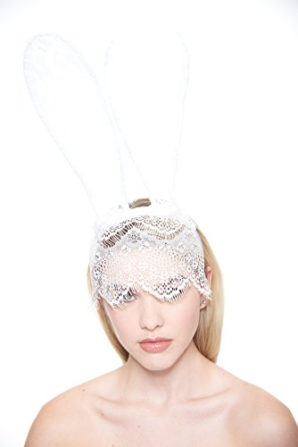 Wowlife Bunny Rabbit Ears Venetian Filigree Lace Veil Costume Masquerade Mask Hairband (White)