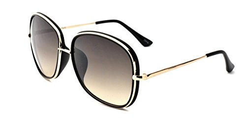 Franco Sarto Women's Square Sunglasses, Gold Black Two Tone Frame, Smoke to Brown Flash Mirror Lens, - Franco Sunglasses