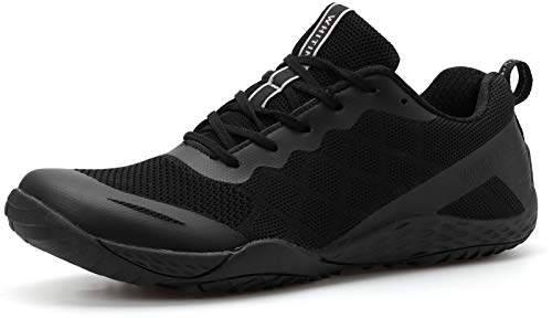 WHITIN Men's Trail Running Shoes Minimalist Barefoot 5 Five Fingers Wide Width Size 10 Toe Box Gym Workout Fitness Low Zero Drop Male Sneakers Treadmill Free Athletic Ultra Black 44