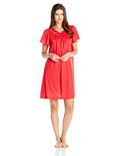 (Shadowline Petals Short Sleeve Gown (36280) L/Red)