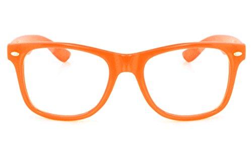 Retro Horned Rim Retro Classic Nerd Glasses Clear Lens (Orange, - Prescription Orange Glasses