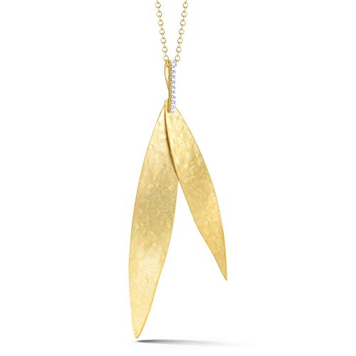 I REISS 14K Yellow Gold 0.06ct TDW Diamond Accent Stacked Leaf-Shape Pendant Necklace ()