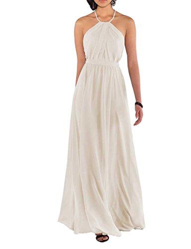 Nicefashion Women's Elegant Spaghetti Straps Pleated Chiffon Floor Length Wedding Party Dresses Ivory US12 by Nicefashion