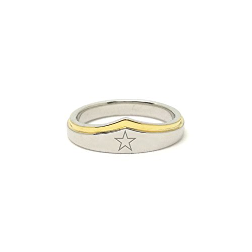 Wonder Woman Baby Costume Uk (Wonder Woman Silver Gold Ring Star Gift for Her (7))