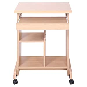 AFT Wooden Computer Table with Wheels, Beige - 60 x 47 x 78 cm