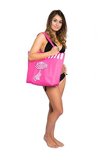 Bolsa de Playa para Mujer Grandes Tote Bolso de Compras Diseño de Tumbona Paraguas Airee Fairee Rosa