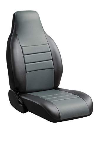 Fia SL62-95 GRAY Custom Fit Rear Seat Cover Bench Seat - Leatherette (Black w/Gray Center Panel)