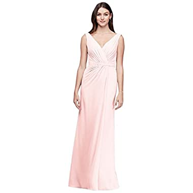 808813530b2a David's Bridal Faux-Wrap Pleated Chiffon Bridesmaid Dress Style F19585,  Petal, ...