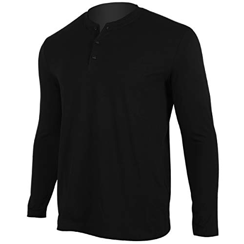Men Casual Long Sleeve Shirts Henley Work Cotton Tee Shirt V Neck Button Stylish Loose Slim Fit T Shirt Sport Workout Outdoor Wear Gym Beach Party Hiking Travel Business Autumn Spring(XXL, Black)