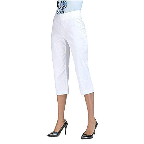 F_topbu Casual Pants for Women Summer Comfort Straight Leg Boot Cut Skinny Trousers Capri Tummy Control Pants White
