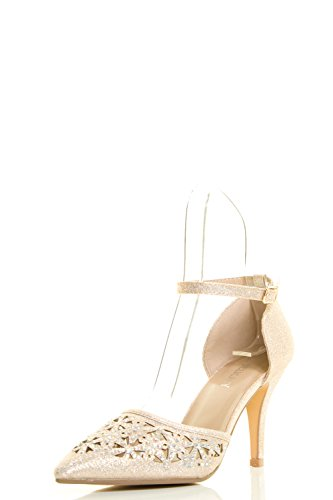 Med Heel Pump (Delicacy Womens Pointy Toe Glitter Rainbow Rhinestone Ankle Strap Med High Heel Pump Sandals 7.5 Champagne)