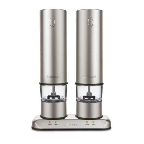 (Cuisinart Rechargeable Electric Salt & Pepper Mill Set in Brushed Stainless Steel SP-4Newest Model)