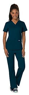 Cherokee Workwear Revolution Women's Scrub Set Bundle - WW620 V-Neck Top & WW110 Pull On Pant & Marc Stevens Badge Reel